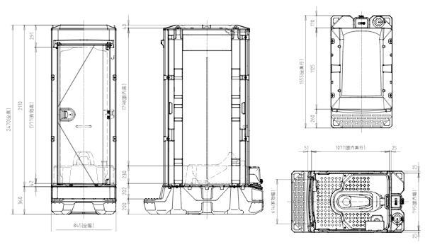 ポンプ式簡易水洗トイレ(TU-IXF4)大小兼用図面
