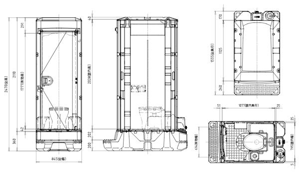 ポンプ式簡易水洗トイレ(TU-IXF4W)洋式タイプ 陶器便座図面