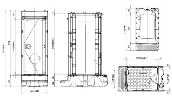 非水洗トイレ(TU-IXS)全ドアタイプ図面